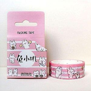Fita Decorativa Washi Tape - Animais Coelho Rosa