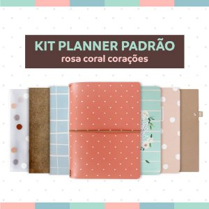 Kit Planner Padrão Rosa Coral Corações