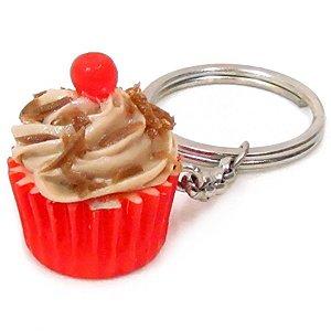 Chaveiro Comidinhas - Cupcake Marrom Cereja