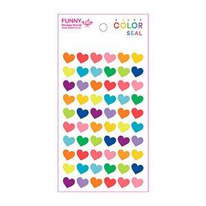 Adesivo Divertido Epoxy - Color Seal Coração Colorido P