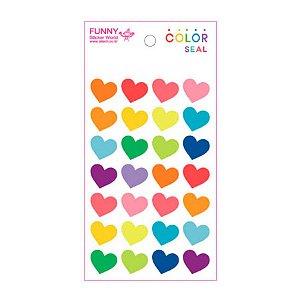 Adesivo Divertido Epoxy - Coração Colorido G