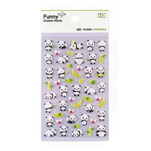 Adesivo Divertido Feltro - Panda Roxo