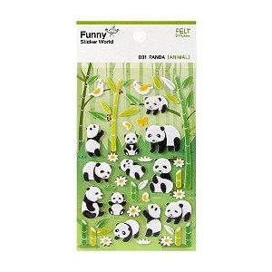 Adesivo Divertido Feltro - Panda Verde