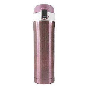 Garrafa Térmica Lisa com Botão 450ml - Rosa