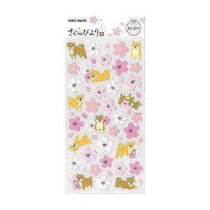 Adesivo Divertido Papel - Sakura Biyori Flores de Sakura Shiba Inu Rosa