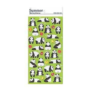 Adesivo Divertido Papel - Summer Selection Panda Verde