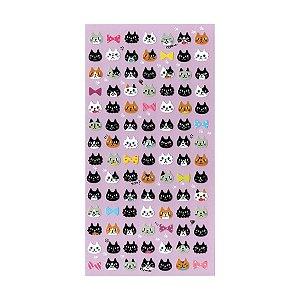 Adesivo Divertido Papel - Gatos Rostos Roxo