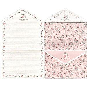 Papel de Carta Envelope Letter Paper Floral Rosa
