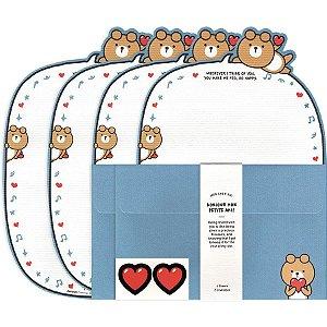 Papel de Carta Bonjour Mon Petite Ami! Galapagos Friends Urso Oliver Azul
