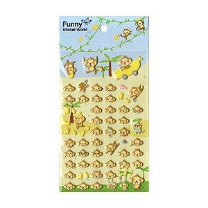 Adesivo Divertido Puffy - Macaco