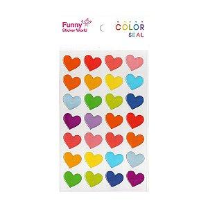 Adesivo Divertido Epoxy - Color Seal Corações Colorido