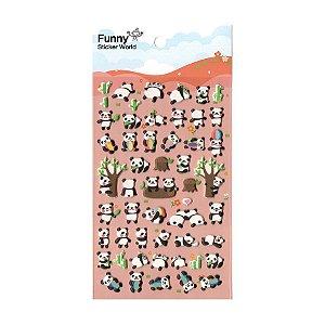 Adesivo Divertido Puffy - Panda Bola Colorida