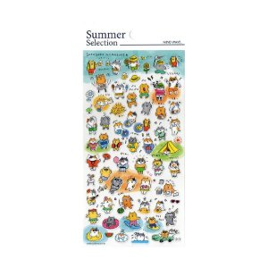 Adesivo Divertido Transparente - Summer Selection Gatos Gorogoro Nyansuke