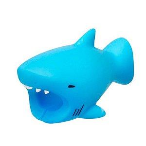 Enfeite e Protetor de Cabo iPhone Tipo Cable Bite - Tubarão Azul