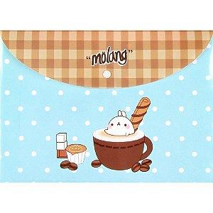 Pasta com Botão Molang - Poá Café Verde Água e Marrom