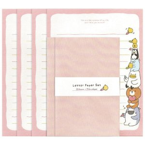 Papel de Carta Letter Paper Set Galapagos Friends Rosa
