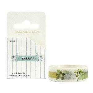 Fita Decorativa Washi Tape - Sakura Folhas Verde