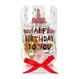 Cartão Pop Up 3D Acetato Transparente Happy Birthday Galapagos Friends Bolo Oliver Mali - Artbox