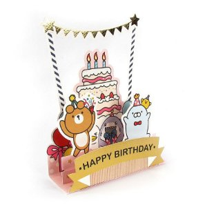 Cartão Pop Up 3D Happy Birthday  Galapagos Friends Bolo Bandeiras Dourado - Artbox