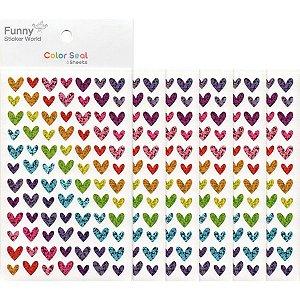 Adesivo Divertido Papel - Color Seal Corações Coloridos M Brilhante 6 Cartelas