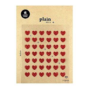 Adesivo Divertido Glitter - 42 Adesivos Plain Deco + Love Corações Vermelhos