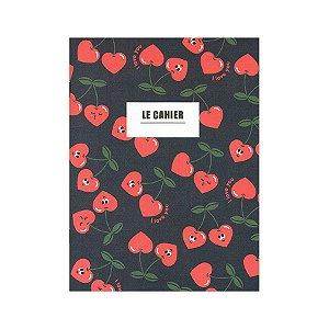 Caderno Brochura Le Cahier Cereja Coração Azul Marinho M - Artbox
