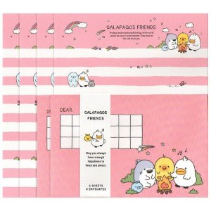 Papel de Carta Letter Set Galapagos Friends Rosa