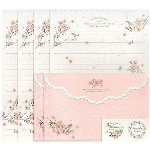 Papel de Carta Letter Paper Floral Rosa