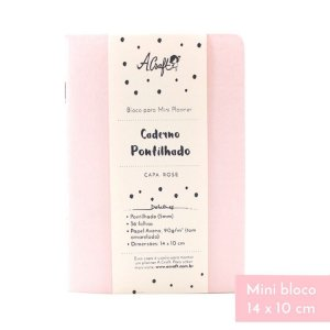 Mini Caderno Pontilhado Rose Para Mini Planner A.Craft