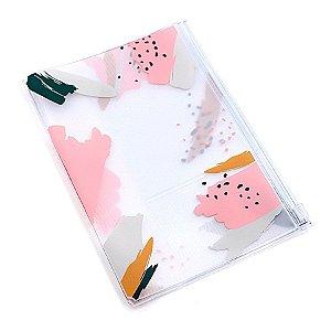 Pasta Plástica Com Zip Pink Brush Para Planner A.Craft Tamanho Padrão