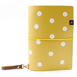 Capa Amarelo Mustard Dots (Para 4 Blocos) Para Planner A.Craft Tamanho Padrão