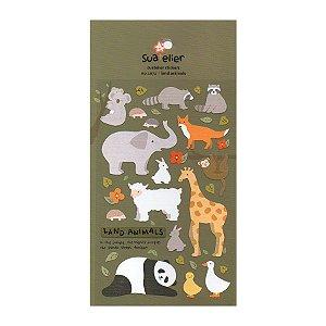 Adesivo Divertido Papel - Land Animals