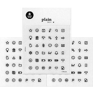 Adesivo Divertido Transparente - 3 Cartelas Plain Deco + n.026