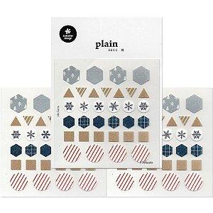 Adesivo Divertido Papel - 3 Cartelas Plain Deco + n.13
