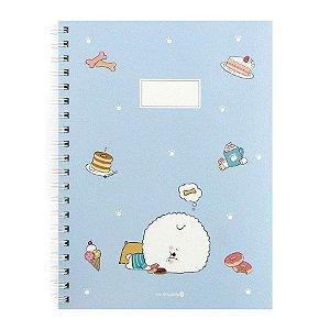 Caderno Espiral Pautado Capa Dura Notebook Bonjour Bichon Cachorrinho Azul - Morning Glory