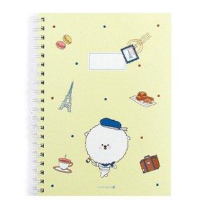 Caderno Espiral Pautado Capa Dura Notebook Bonjour Bichon Cachorrinho Amarelo - Morning Glory