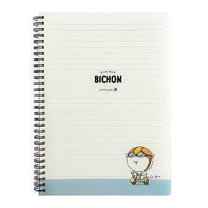 Caderno Espiral Capa Plástica Notebook Bonjour Bichon Cachorrinho Azul - Morning Glory