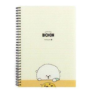 Caderno Espiral Capa Plástica Notebook Bonjour Bichon Cachorrinho Amarelo - Morning Glory