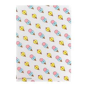 Pasta Plástica em L 3 Divisórias Sorvete de Casquinha Iren Otto - Artbox