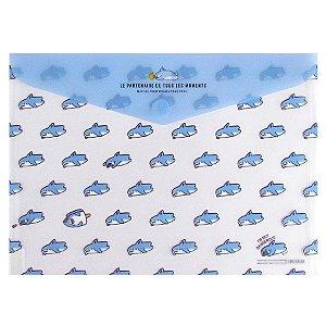 Pasta Plástica Envelope A4 Com Velcro Le Partenaire... Tubarão Boss Azul - Artbox