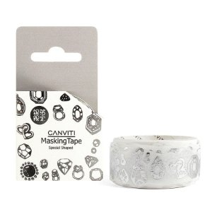 Fita Decorativa Washi Tape Canviti Masking Tape Diamante Branco
