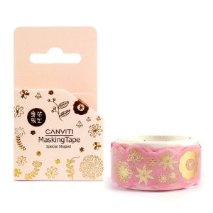 Fita Decorativa Washi Tape Canviti Masking Tape Floral Rosa