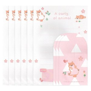 Papel de Carta Ninge A Party Animal Tema Cachorro Sakura Triângulo Rosa