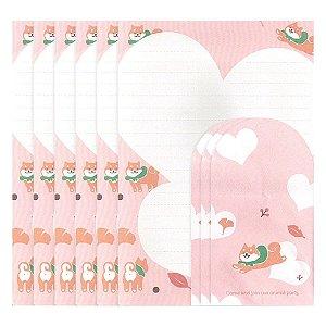 Papel de Carta Ninge Tema Cachorro Shiba Inu Coração Rosa