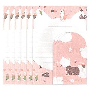 Papel de Carta Ninge Tema Gato Urso Rosa