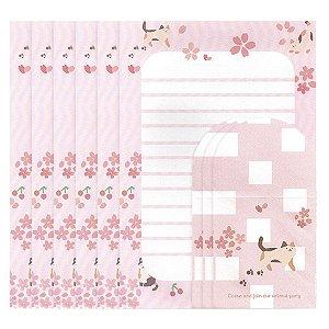 Papel de Carta Ninge Tema Gatinho Sakura Rosa