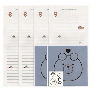 Papel de Carta Letter Paper Galapagos Friends Urso Oliver Azul