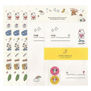 Papel de Carta Letter Set Always With You Rabiscos Coelhinho Creme