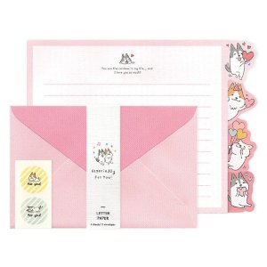 Papel de Carta Letter Paper Especially For You! Cachorrinhos Shiba & Skii Rosa