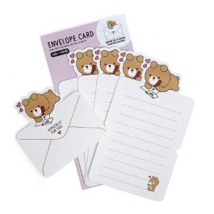 Papel de Carta Envelope Card Urso Oliver Galapagos Friends